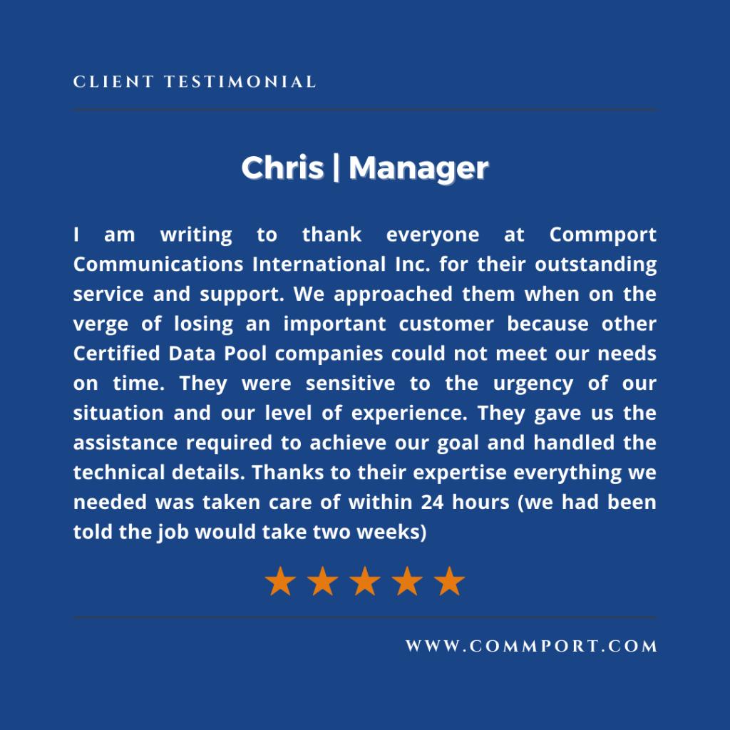 Commport Communications - Chris Manager - Customer Testimonial