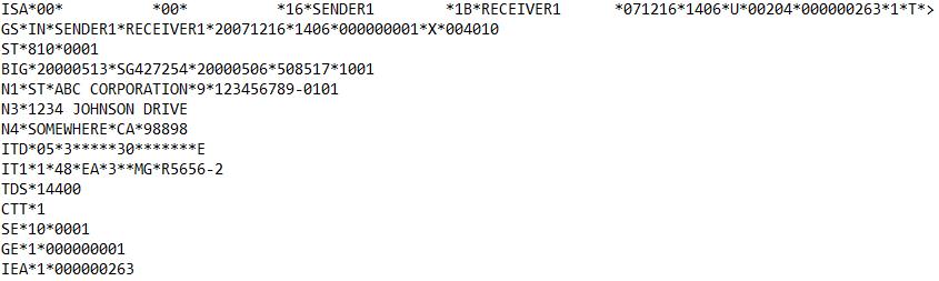 EDI 810 Sample